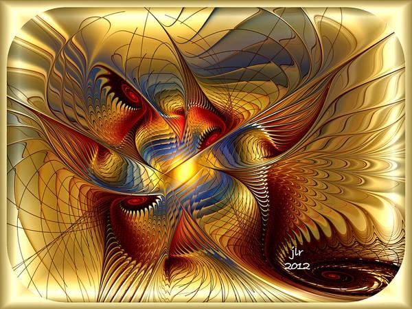 Golden Dancing Dragon Art Print by Janet Russell