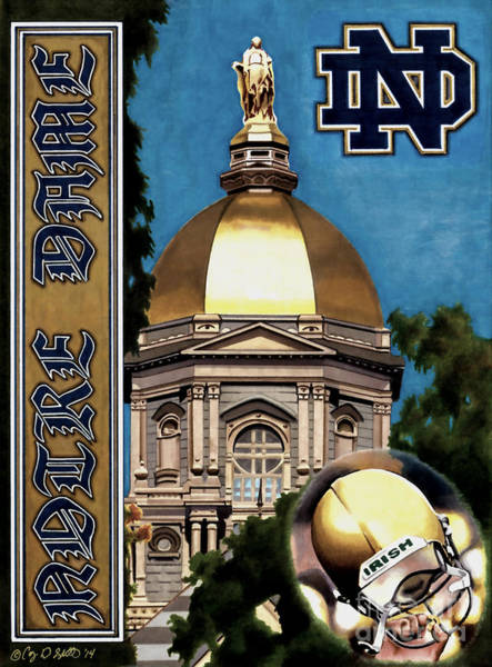 Notre Dame Drawing - Golden Dome by Cory Still