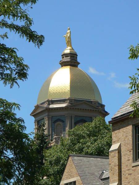 Notre Dame University Photograph - Golden Dome Notre Dame by Connie Dye