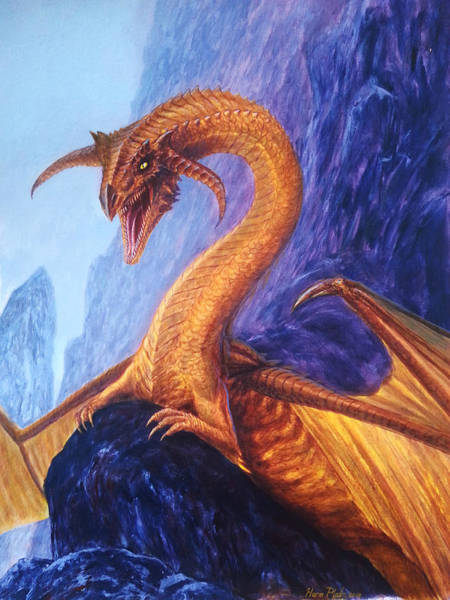 Smaug Painting - Golden Dragon by Harm  Plat