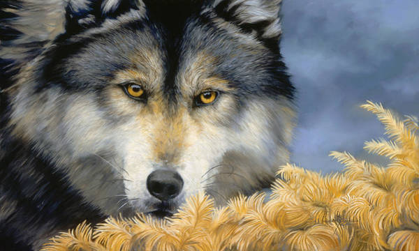 Close-up Painting - Golden Eyes by Lucie Bilodeau