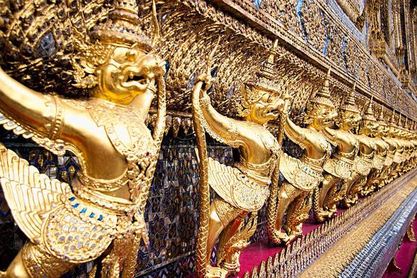 Giant Buddha Photograph - Golden Figures In Bangkok  by David Smith