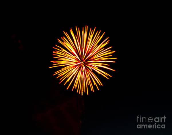 Fireworks Show Wall Art - Photograph - Golden Fireworks Flower by Robert Bales