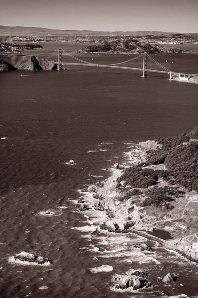 Wall Art - Photograph - Golden Gate Aloft B W by Steve Gadomski