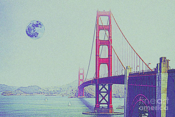 Wire Mixed Media - Golden Gate And Full Moon by Celestial Images