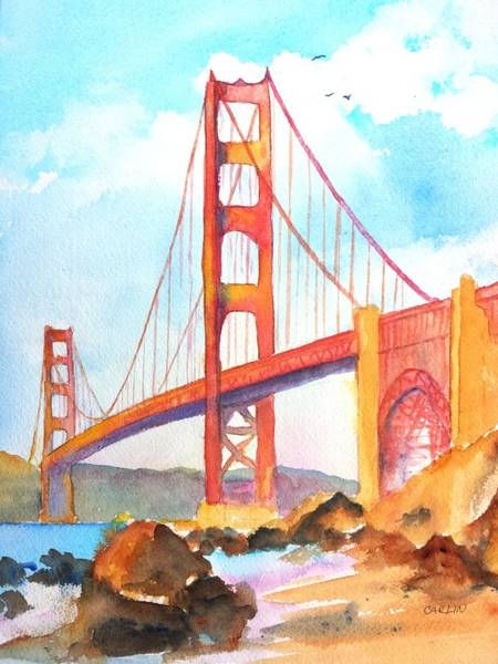 Area Painting - Golden Gate Bridge 3 by Carlin Blahnik CarlinArtWatercolor