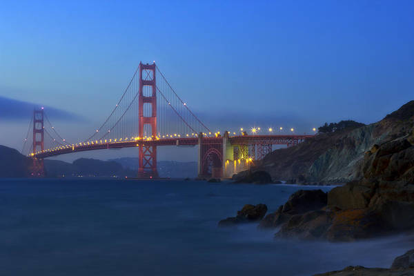 Us West Coast Photograph - Golden Gate Bridge After Sunset by Melanie Viola
