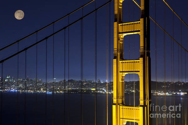 Wall Art - Photograph - Golden Gate Bridge At Night Under A Full Moon by Keith Kapple