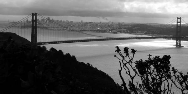Photograph - Golden Gate Bridge Black White by Jeff Lowe