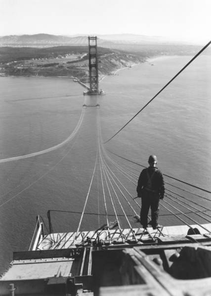 Historic Site Photograph - Golden Gate Bridge Cables by Underwood Archives