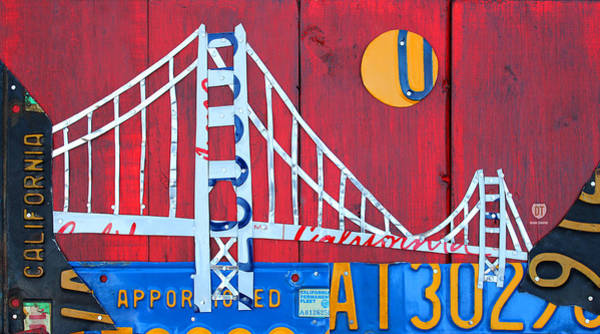 Golden Mixed Media - Golden Gate Bridge California Recycled Vintage License Plate Art On Red Distressed Barn Wood by Design Turnpike