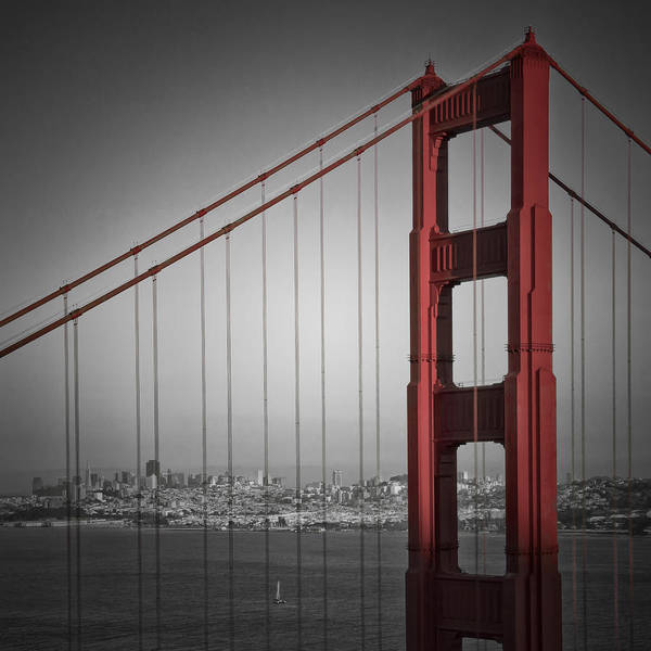 Square Tower Photograph - Golden Gate Bridge - Downtown View by Melanie Viola