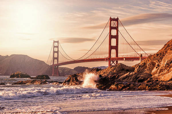 Sunlight Photograph - Golden Gate Bridge From Baker Beach by Karsten May