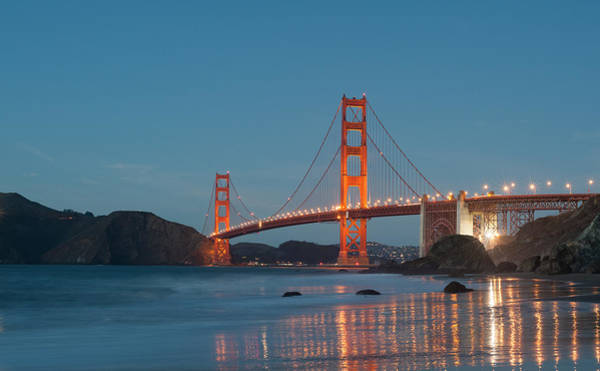 Wall Art - Photograph - Golden Gate Bridge In Evening by Catherine Lau