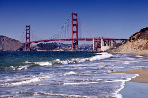 Waving Photograph - Golden Gate Bridge - Seen From Baker Beach by Melanie Viola