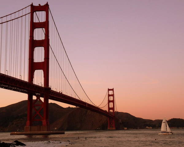 Photograph - Golden Gate Bridge Sunset by Jeff Lowe