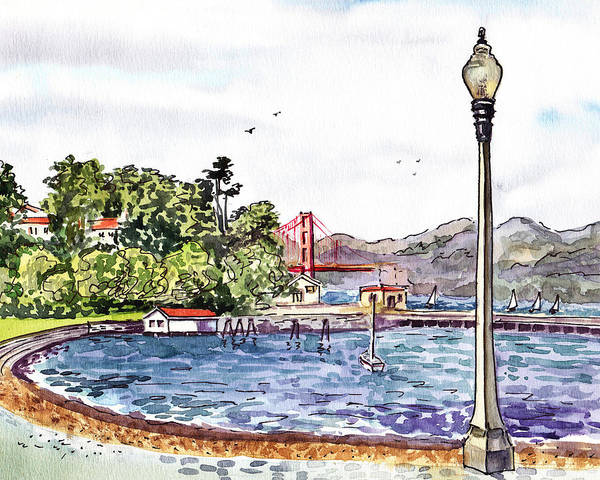 Painting - Golden Gate Bridge View From Aquatic Park San Francisco  by Irina Sztukowski