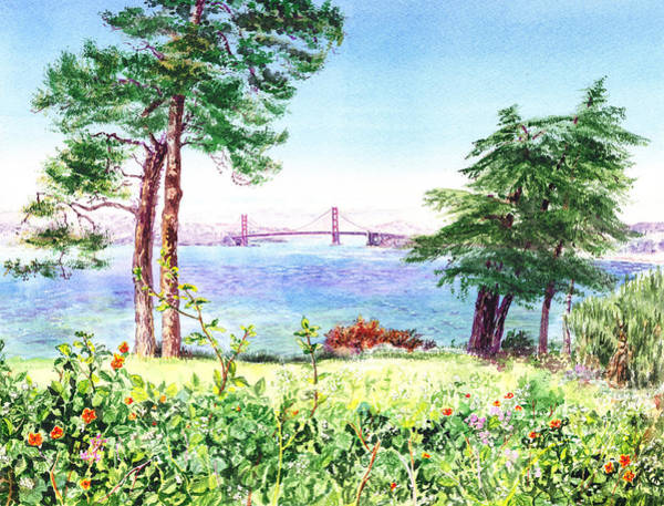 Wall Art - Painting - Golden Gate Bridge View From Lincoln Park San Francisco by Irina Sztukowski