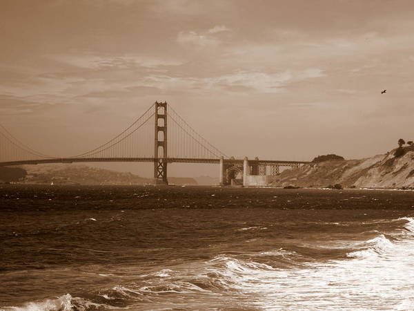 Photograph - Golden Gate Bridge With Surf Sepia by Carol Groenen