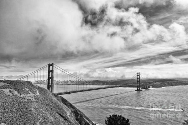 Marin Headlands Photograph - Golden Gate Drama - Golden Gate Bridge In San Francisco California Black And White by Jamie Pham