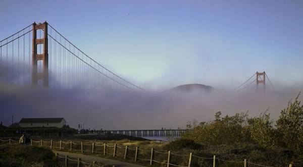 Photograph - Golden Gate Soft Fog by Michael Hope