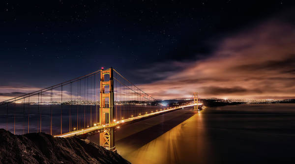 City Scape Photograph - Golden Gate To Stars by Javier De La