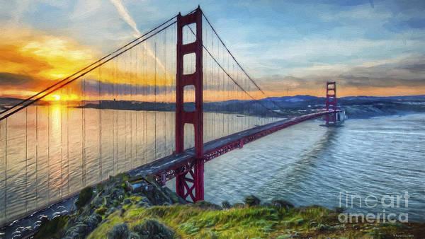 Golden Gate Painting - Golden Gate by Veikko Suikkanen