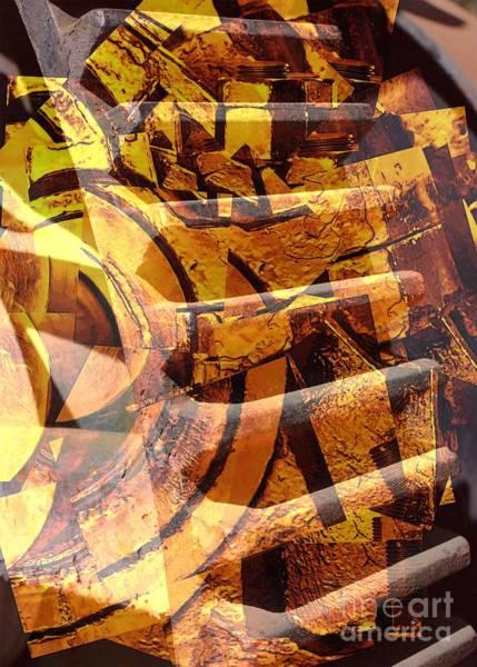 Digital Art - Golden Gears Abstract by Carol Groenen