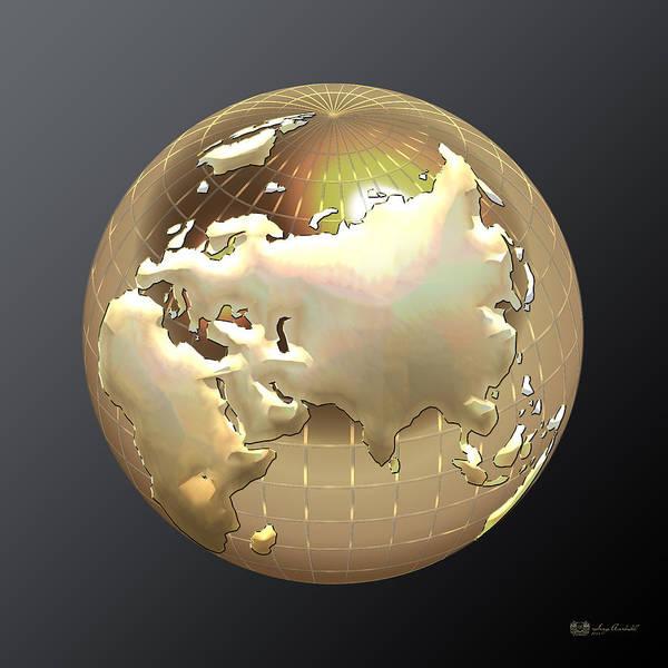 Eastern Europe Digital Art - Golden Globe - Eastern Hemisphere On Black by Serge Averbukh