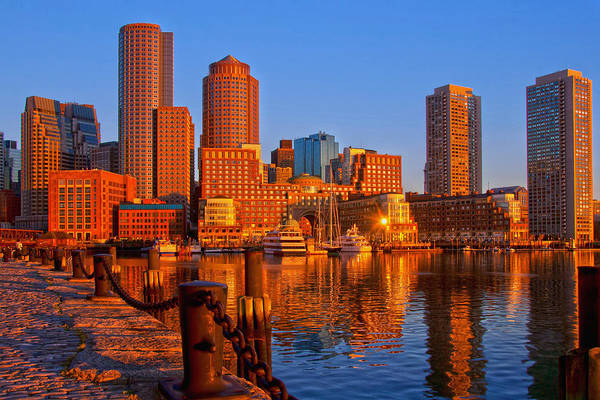 Photograph - Golden Glow Over Boston Harbor by Joann Vitali