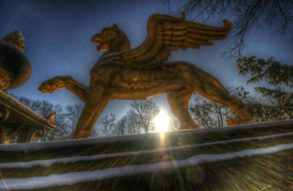 Gargoyle Digital Art - Golden Griffin by Nathan Wright