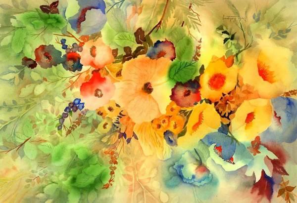Golden Bloom Painting - Golden Hibiscus by Neela Pushparaj