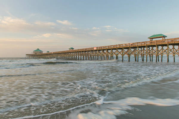 Low Battery Photograph - Golden Hour At Folly Beach Pier   Charleston Sc by Willie Harper