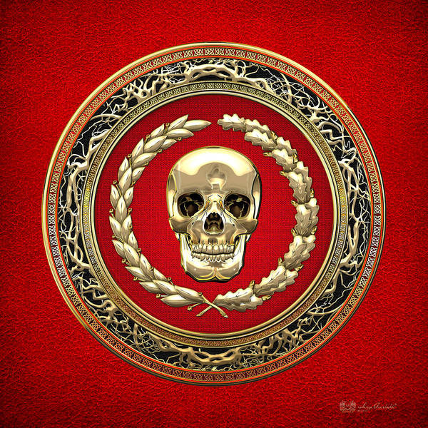 Amulet Digital Art - Golden Human Skull On Red   by Serge Averbukh
