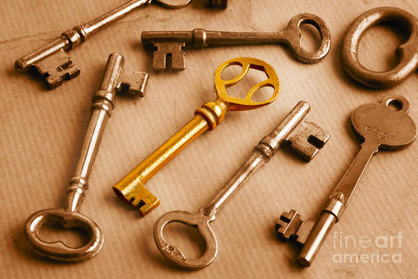 Outstanding Photograph - Golden Key And Grunge by Colin and Linda McKie