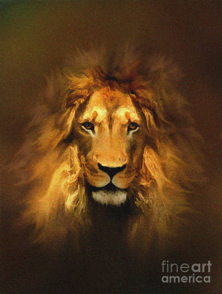 Wall Art - Painting - Golden King Lion by Robert Foster