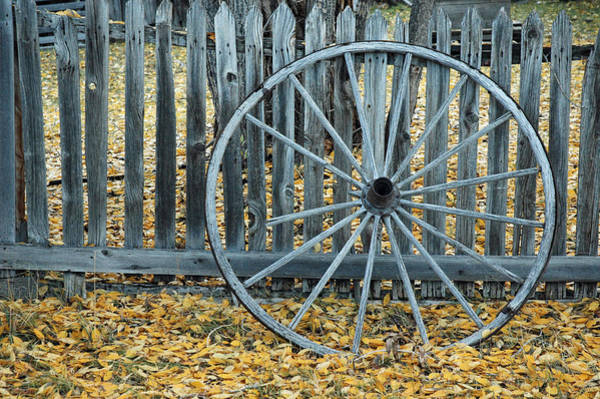 Photograph - Golden Leaves And Old Wagon Wheel Against A Fence by Bruce Gourley