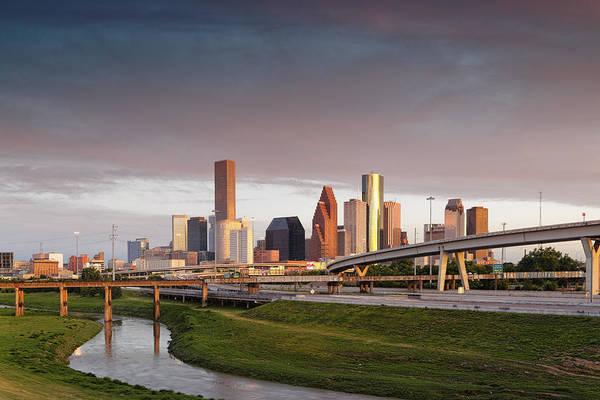 Hogan Photograph - Golden Light On Downtown Houston by Silvio Ligutti