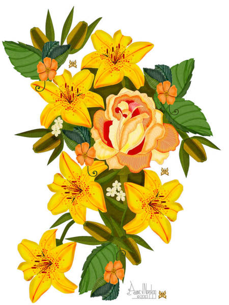 Wall Art - Painting - Golden Lily Flowers With Golden Rose by Anne Norskog