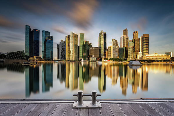 Modern Architecture Photograph - Golden Morning In Singapore by Zexsen Xie