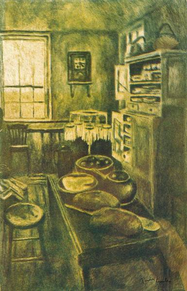 Drawing - Golden Old Fashioned Kitchen by Kendall Kessler