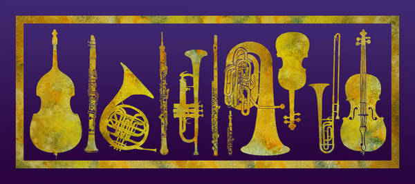 Trombone Wall Art - Digital Art - Golden Orchestra by Jenny Armitage