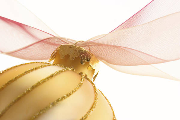 Ornaments Wall Art - Photograph - Golden Ornament With Red Ribbon High Key by Carol Leigh