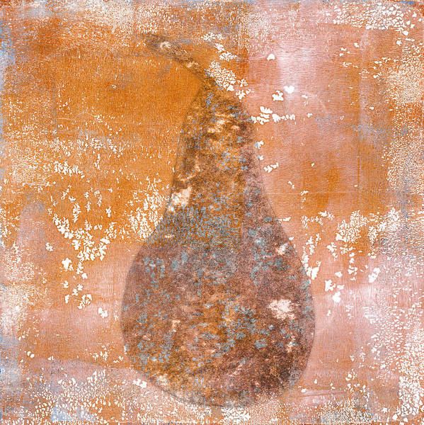 Beige Painting - Golden Pear Pink Monoprint by Carol Leigh