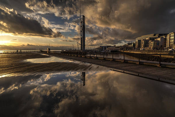 Elliot Bay Wall Art - Photograph - Golden Pier Cloudscape Two by Mike Reid