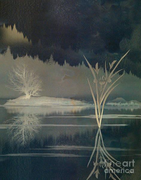 Dark Olive Green Wall Art - Digital Art - Golden Pond Lily by Peter Awax