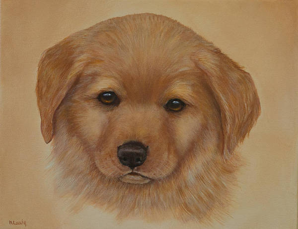 Painting - Golden Puppy by Nancy Lauby