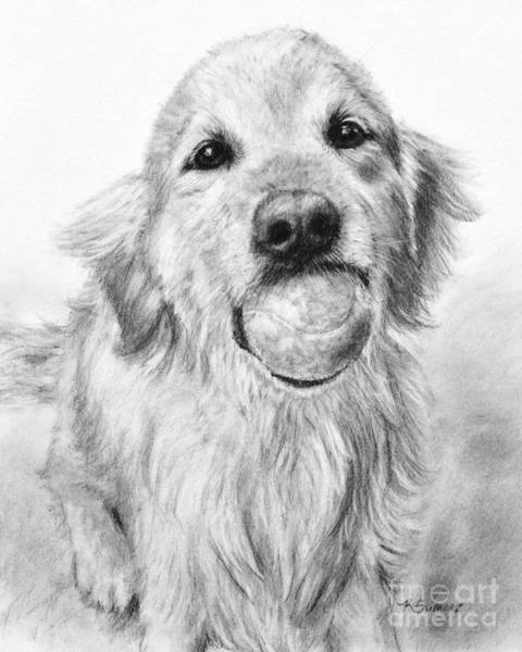 Art Print featuring the painting Golden Retriever With Ball by Kate Sumners