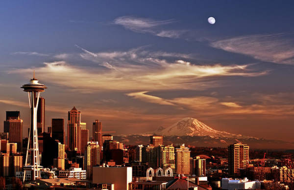 Mount Rainier Photograph - Golden Seattle by Darren  White