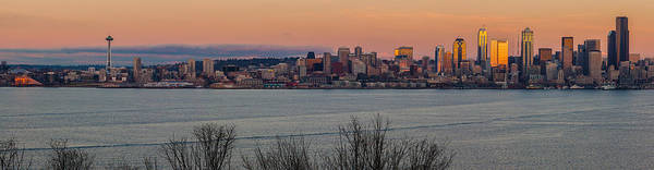 Puget Sound Photograph - Golden Seattle Skyline Sunset by Mike Reid